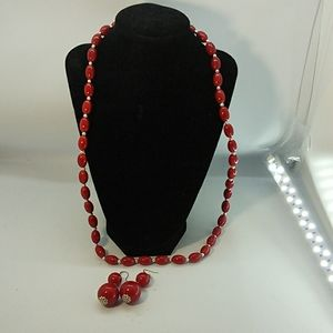 Jewelry - Necklace and Earring Set Red Bead